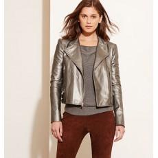 Metallic Leather Moto Jacket _ More 40 % Off
