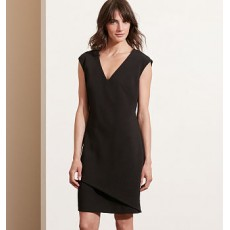 Stretch Crepe V-Neck Dress _ More 40 % Off