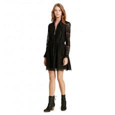 Velvet-Trim Lace Dress _ More 40 % Off