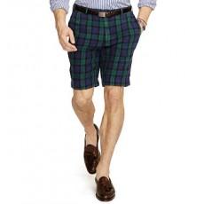 Slim-Fit Tartan Linen Short _ More 40 % Off